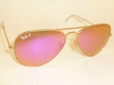 RAY BAN Aviator Sunglasses Matte Gold RB 3025 112/1Q Polarized Cyclamen Mirror