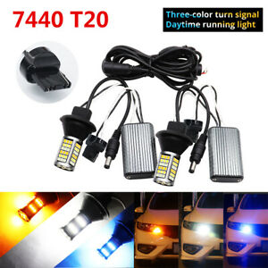 2X 7440 T20 LED 81SMD 54W CANBUS No Error DRL White Blue Amber Turn Signal Light