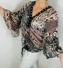Tie Front Blouse Leopard Print Black Pink Grey Bell Sleeve Metallic One Size NEW