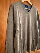 Massimo Dutti Grey (Cotton, Silk, Cashmere) v-neck Jumper Size XX- Large