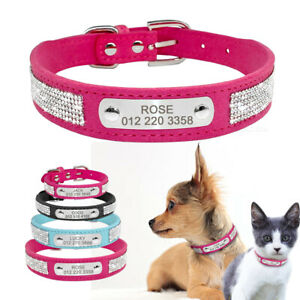 Custom Rhinestone Dog Collar with Engraved Nameplate Soft Suede Leather Crystal