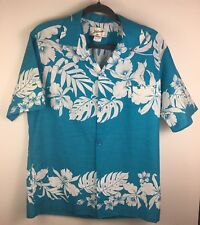 Vtg HELENA'S Men's Hawaiian Shirt Size Medium Blue/White Floral Tropical Lounge