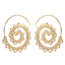 Fashion Tribal Gold/Silver Alloy Large Round Spiral Hoop Earrings Wire Earrings