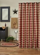 Wicklow Garnet Cream Check Country Farmhouse Cotton Shower Curtain