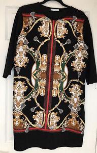 Zara Black 3/4 Sleeve Print Dress XL
