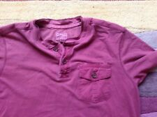 Fat Face, size L, burgundy button neck T shirt