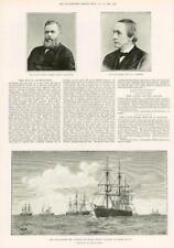 1890-antica stampa Marina Militare Ammiraglio SIR George Tyron tattiche di vapore (248)