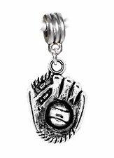 Baseball Glove Ball Sports Son Softball Dangle Charm for European Bead Bracelets