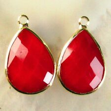2Pcs 21x13x6mm Wrapped Faceted Red Jade Teardrop Pendant Bead S46500