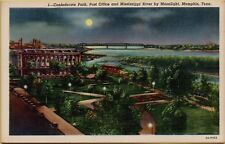 Confederate Park Post Office & Mississippi River by Night Memphis TN Postcard A6