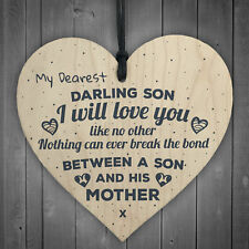 Gift For Son Mum Birthday Wooden Hanging Heart Sign Plaque Keepsake Poem