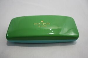Kate Spade 6 inch Eye Glass Case Turquoise Green Hard Shell Eyes Inside Design