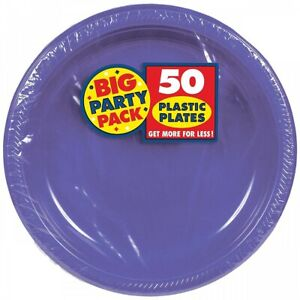 """Big Party Pack Round Plastic Plates 10.25"""" 50 Per Pack Party Plates"""
