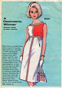 1965 Vintage Sewing Pattern MONDRIAN Shift DRESS B34in (1922R)