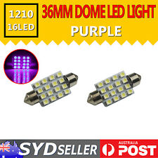 2pcs 36mm Purple 16-SMD 3528 Festoon Dome LED Light Car Map Reading Bulbs Lamp