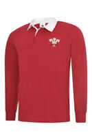 WALES LONG SLEEVE RETRO STYLE RUGBY SHIRTS.  6 NATIONS RUGBY