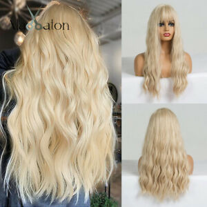 Long Light Blonde Wigs with Bangs Heat Resistant Synthetic Wavy Wig for Women