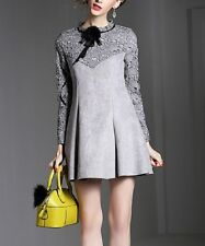 Special Occassion Fit & Flare Dress Size UK 6 Ladies Grey Lace #330