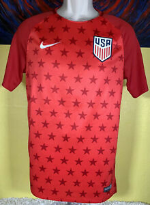 Men's Nike Dri-Fit USA Squad Pre-Match Training Soccer Jersey Size Small Red