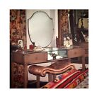 1920s Oak Vanity Mirrored Dressing Table & Bench Set Painted Shabby Furniture