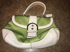 Authentic Coach Handbag Purse Lime Green and White Very Cute!!