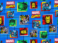 MARVEL FABRIC RETRO COMICS BLOCKS SUPERHERO SPRINGS CREATIVE 100% COTTON YARDAGE