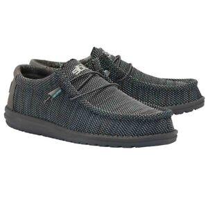 Hey Dude Men's Wally Sox Micro Asphalt Azur Shoes 110352138