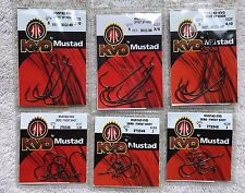6 New Packs Mustad KVD Fish Hooks 5 Per Pack 30 Total 6 Different Sizes
