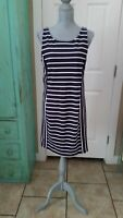 BANANA REPUBLIC, NAVY AND WHITE STRIPED, SLEEVELESS, STRETCHY, SHEATH DRESS, 12
