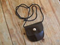 SOFT BROWN LEATHER AMMO POUCH WITH NECK LANYARD - RIMFIRE .22 17HMR BULLET