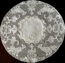 "D-6.5"" Vtg 6 Cocktail Napkin doilies Potten Kant Bobbin Lace & cotton Mono EGS"