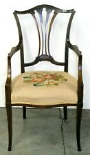 HEPPLEWHITE MAHOGANY ARMCHAIR ON DELICATE CURVED LEGS ON ORIGINAL SEAT