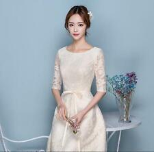 Champagne Short Sleeve Bridesmaid Wedding Dress Ladies Pink Prom Party Gown