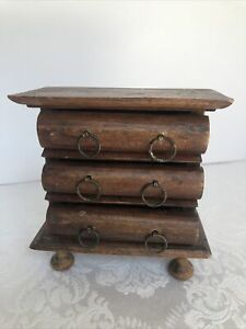 Vintage Miniature Wooden 3 Drawer Chest of Drawers with Brass Handles