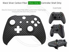 New Xbox One S Controller Front Shell Carbon Fiber Effect black and silver mod