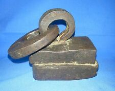 1850'C Antique Primitive Old Iron Hand Carved Weight Measurement Unit India