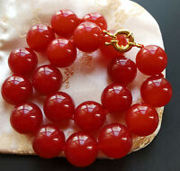 "Large Red Jade choker necklace,Round Smooth 16mm Beads Knotted 18"" 20"" 24"""