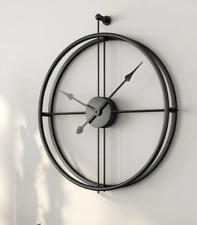 Clock Canvas Wall Clock - Golden Circle Clock in Black  80CM (316-1)