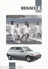 Renault 5 Campus Prospekt 7 91 brochure 1991 Auto PKWs Frankreich Europa Verkehr