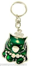 Wombat Key Ring - Bright Green Silver/Enamelled Front