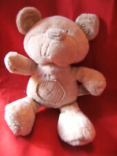 NEXT BEIGE  TEDDY BEAR SOFT TOY WITH GINGHAM PATCHES APPROX 9 INCHES
