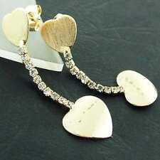 LONG DROP EARRINGS 18K YELLOW G/F GOLD DIAMOND SIMULATED HEART DESIGN FS3AN872