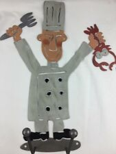 """Laser Cut Metal Art Chef with Fork and Lobster, Towel Hooks 15"""" Tall"""