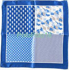 New Silk Pocket Square Handkerchief Multi Pattern Blue