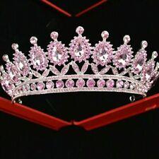pageant tiara light pink baby pink diamante crown princess wedding bridal prom
