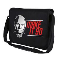 MAKE IT SO Star Jean-Luc Satire Trek Picard Geschenk Umhängetasche Messenger Bag
