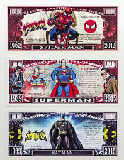 1 set of 3 Batman, Superman, Spiderman fantasy paper money One Million Dollars