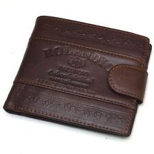 Vintage Mens Leather Clutch Wallets Credit Card Holders Zipper Pocket Purse