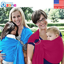 Ultra Light Adjustable Baby Ring Sling Carrier Cotton Wrap, Newborn to Toddler
