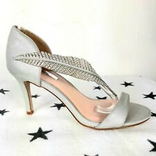 NEW Silver Feather Strappy High Heel Shoes Stilettoes Size UK 6 Wedding Races